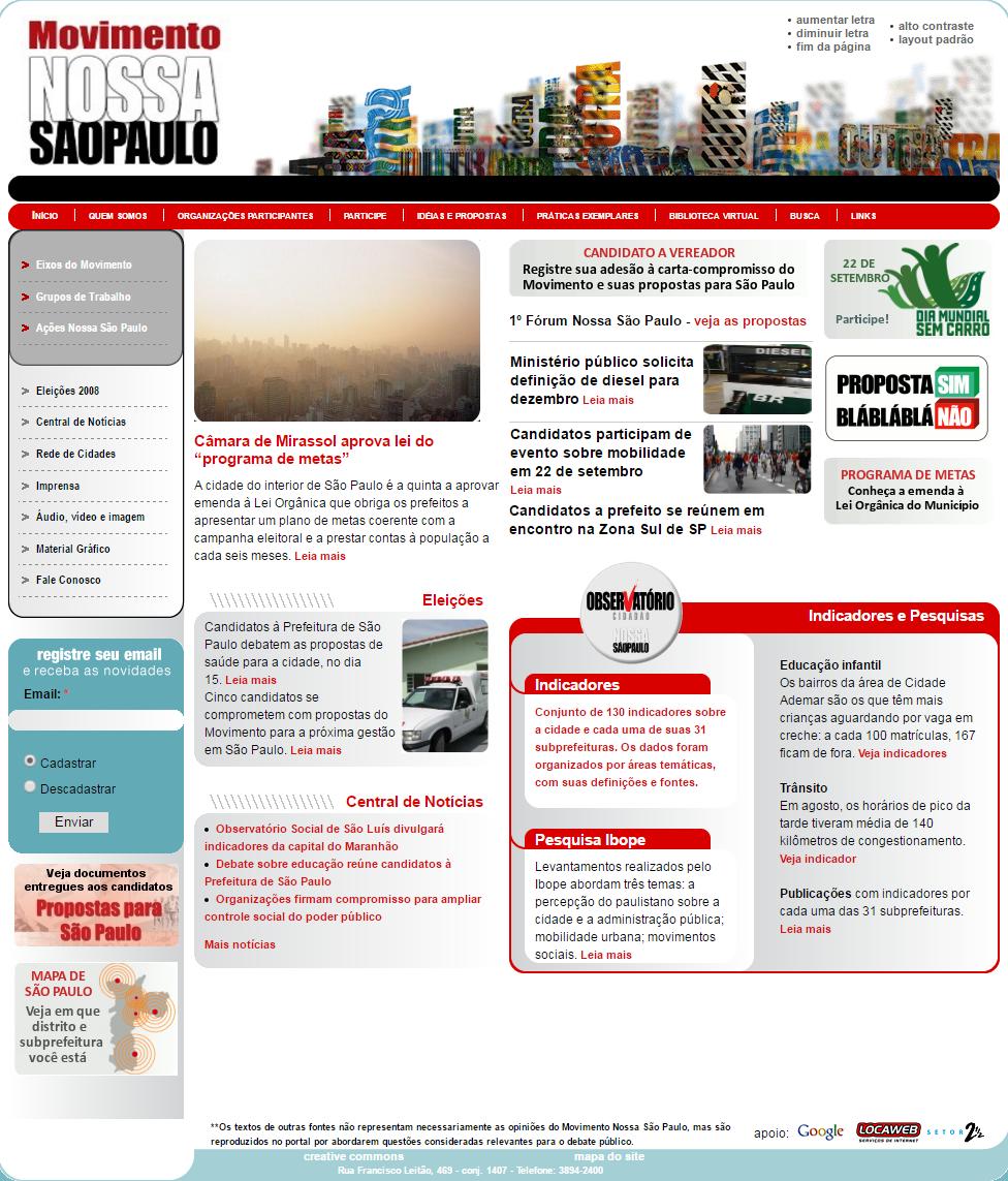BABENKO agencia publicidade - desenvolvimento sites ONG Rede Nossa Sao Paulo