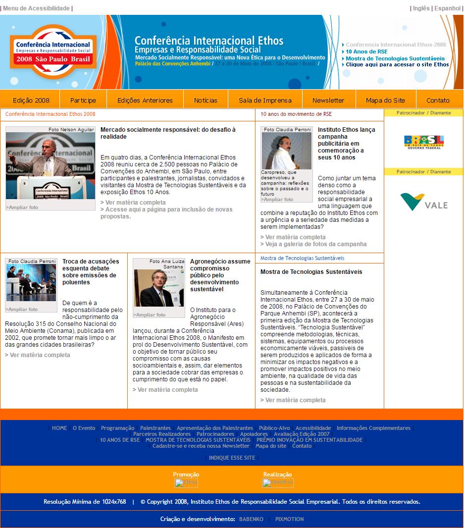 BABENKO agencia publicidade - desenvolvimento sites ONG Instituto Ethos Responsabilidade Social