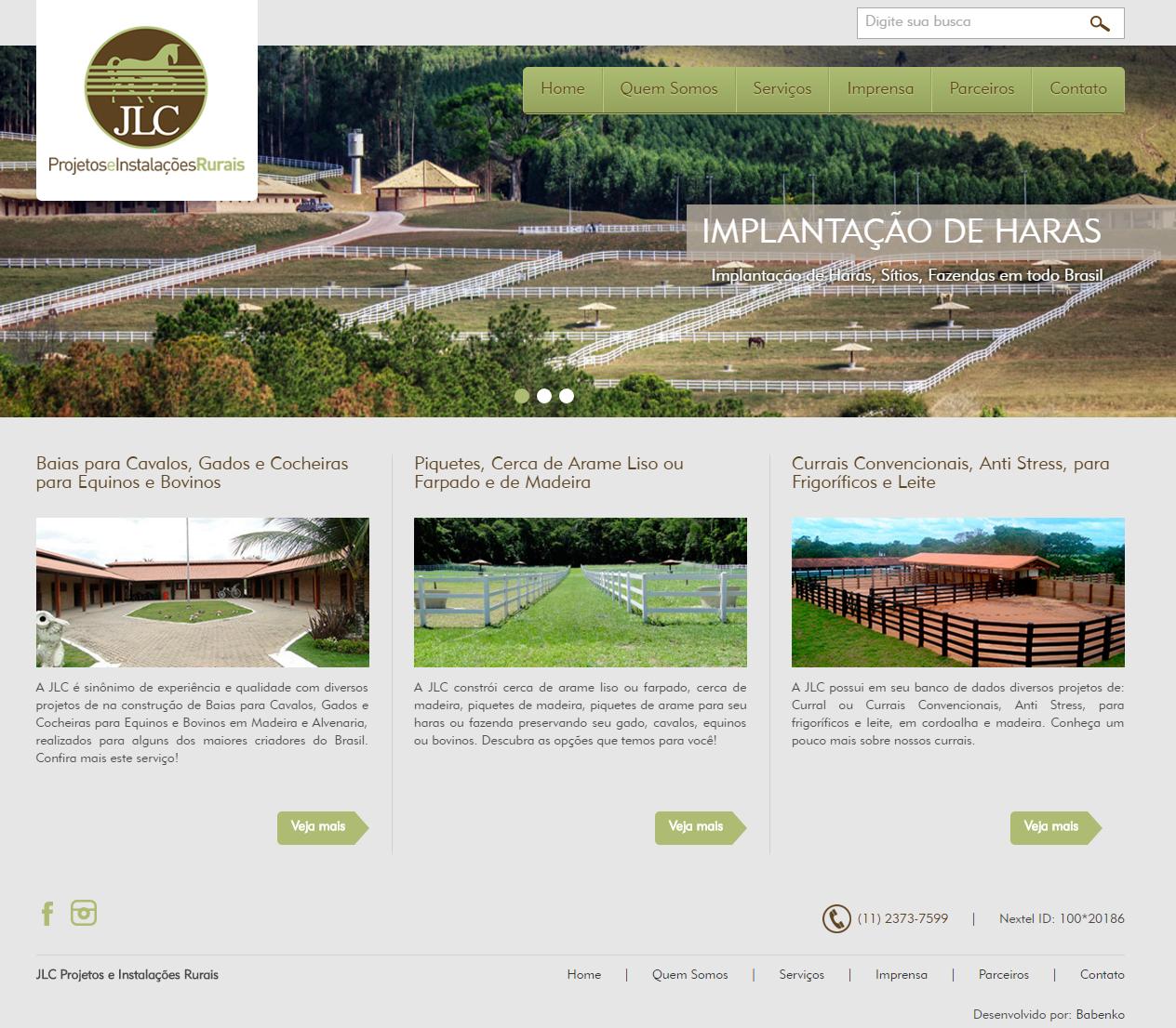 BABENKO agencia publicidade - Desenvolvimento Criação de Design de Sites JLC Instalacoes Rurais