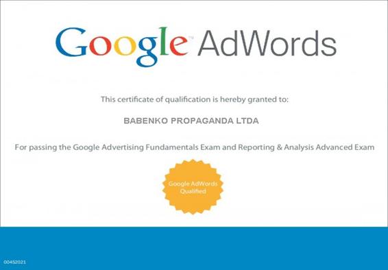 Babenko agencia de publicidade - Certificado Google
